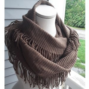 Tickled Pink Brown Fringe Knit Infinity Scarf